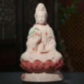pink_ceramics_guanyin_statue_for_family_