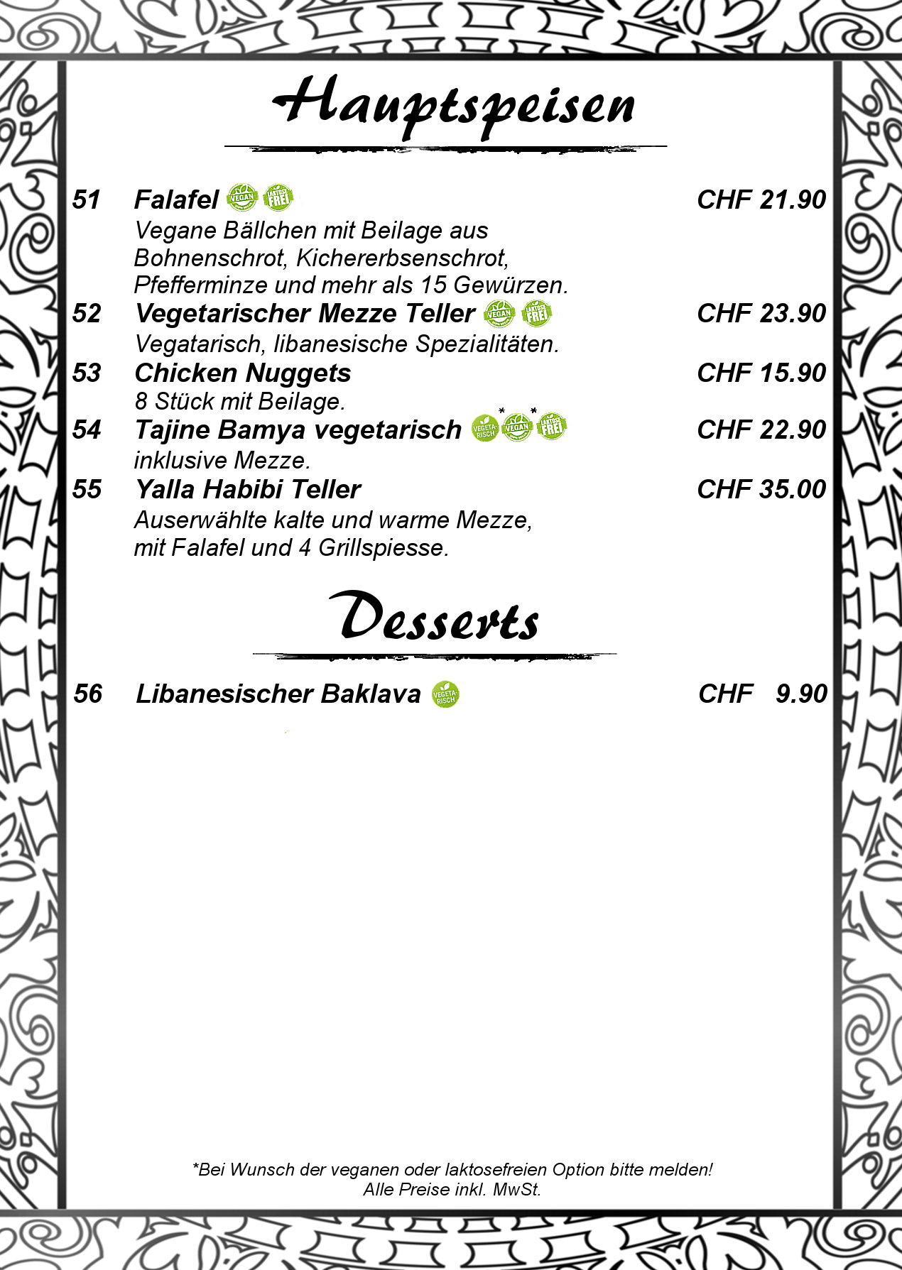 6 Hauptspeisen mit Dessert