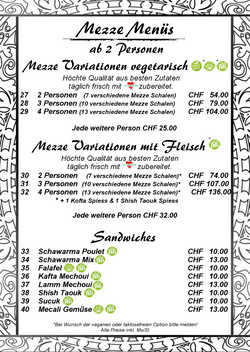 4 Mezze Menüs