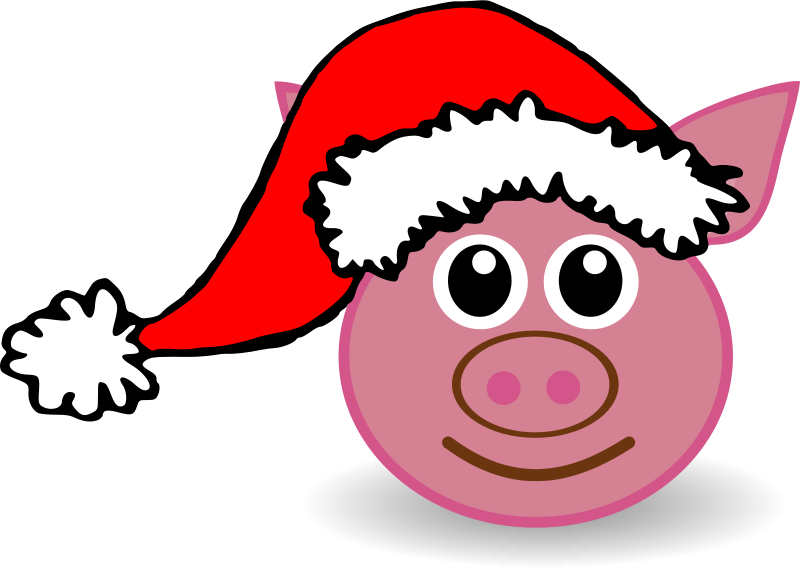 Pig_01_Face_Cartoon_Pink_with_Santa_hat