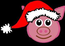 Pig_01_Face_Cartoon_Pink_with_Santa_hat