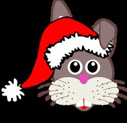 Rabbit_001_Face_Cartoon_with_Santa_hat