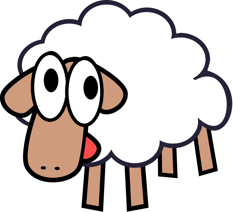 White_Stupid_Cute_Cartoon_Sheep