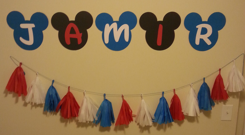 Mickey Name Banner & Tassels