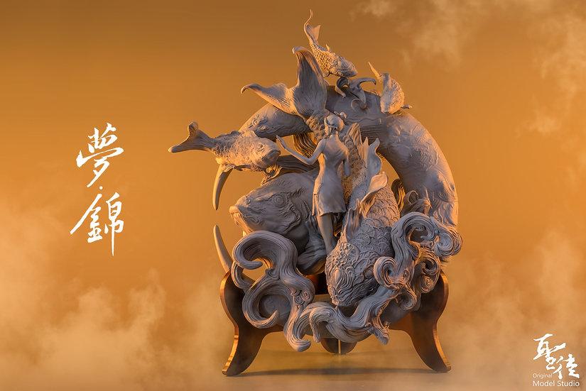 ORIGINAL MODEL STUDIO - Dream of Koi Original Statue (unpainted phase)