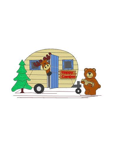 Moose Bear Happy Camper Filled