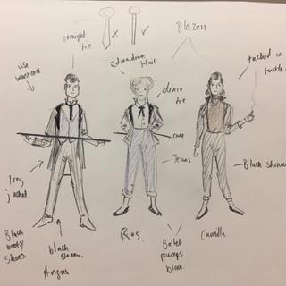 graces' costume sketches for Venus & Adonis: Nik Corrall