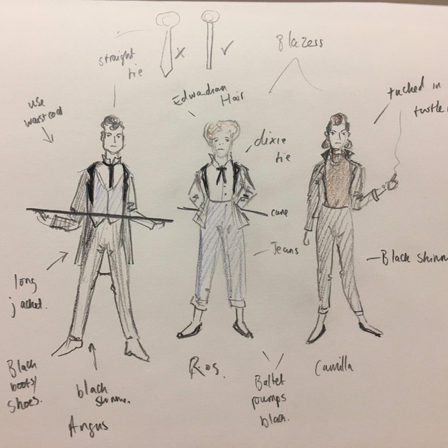 graces' costume sketches for Venus & Adonis: Nik Corrall