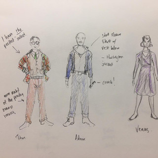 costume sketches for the main characters: Nik Corrall