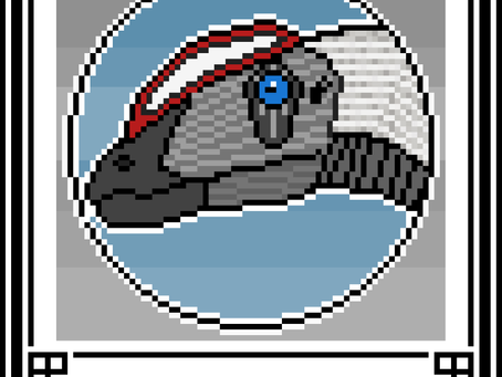 Pixel-Art Dilophosaurus