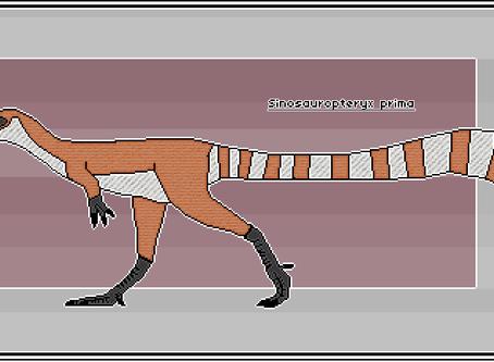 Pixel-Art Sinosauropteryx prima
