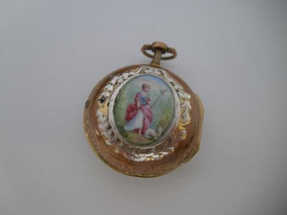 Gilt enameled pocket watch