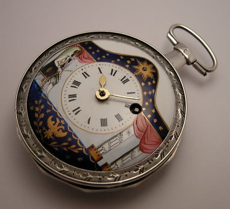 Pocket watch with enameled dial and silver cock