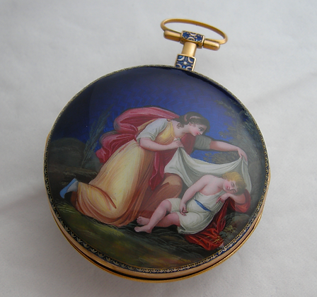 Historical pocket watch, gold and enamel