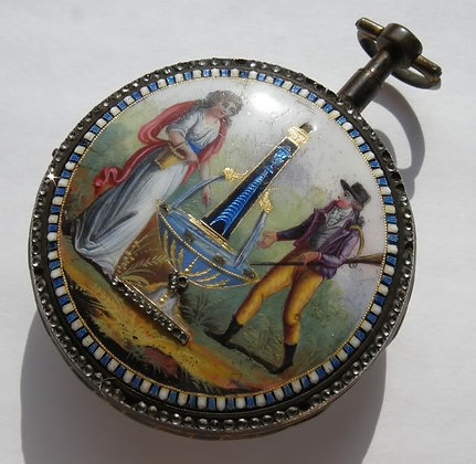 Terrot à Genève, gilt enameled pocket watch
