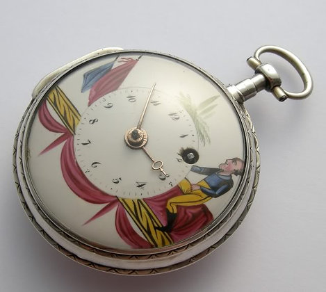 Pocket watch with enameled dial