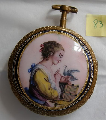 Gilt pocket watch with enameled back