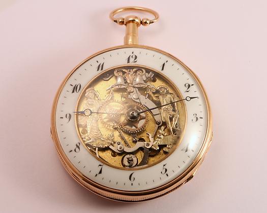 18K gold automaton skeletonized watch