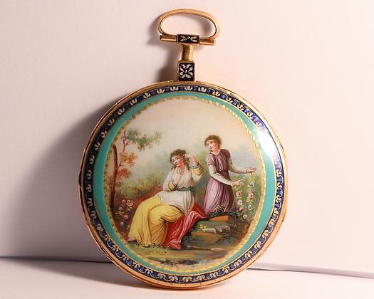 Guex à Paris, 18K gold and enamel watch circa 1790