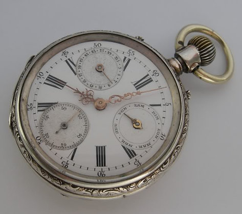 Pocket watch with double calendar