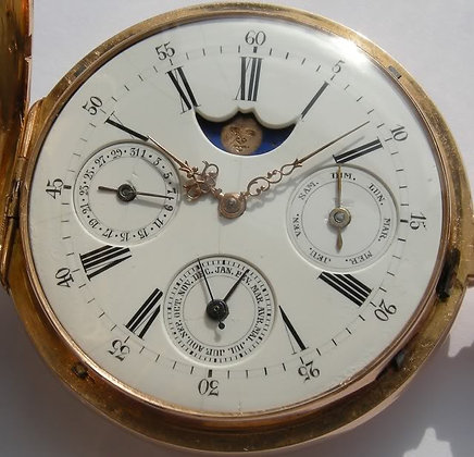 18K gold watch with annual calendar and moon phase