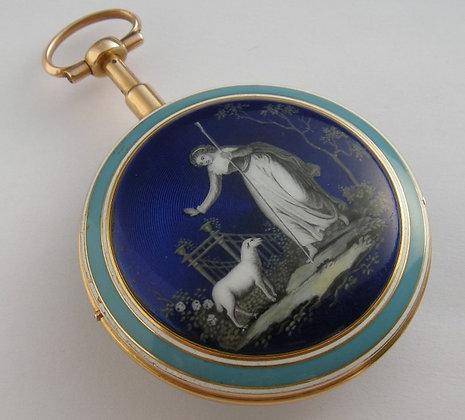 Vauchez à Paris, 18K enameled watch, 1/4 repeater