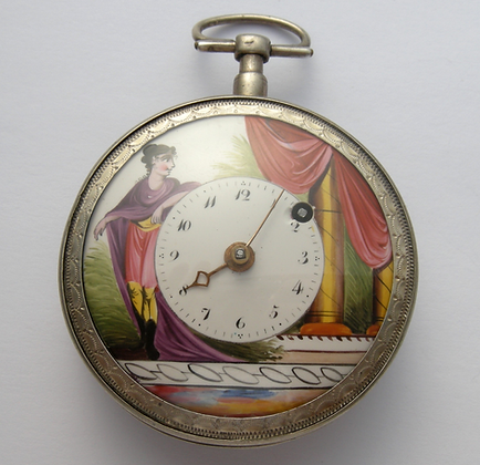 Nice pocket watch with enameled dial