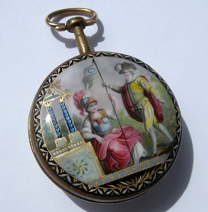 Historical pocket watch with enameled case