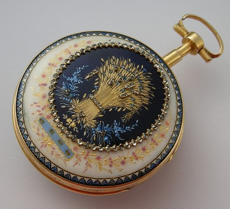 Terrot à Genève, enameled pocket watch
