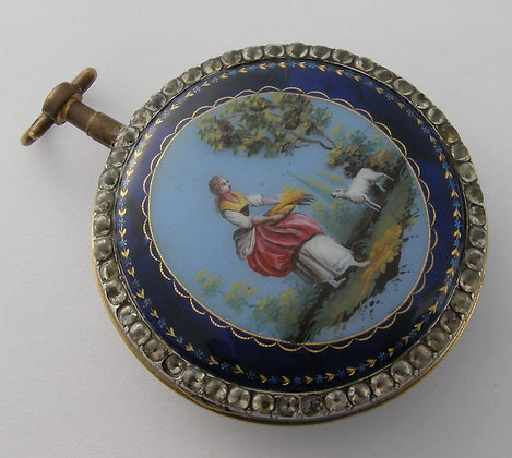 STOLEN Frères Veigneur, large enameled watch