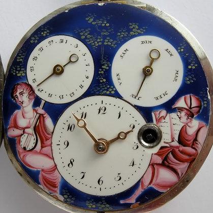 Double calendar enameled watch