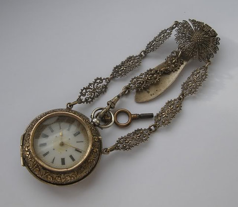 Pocket watch with a special pair case & chatelaine