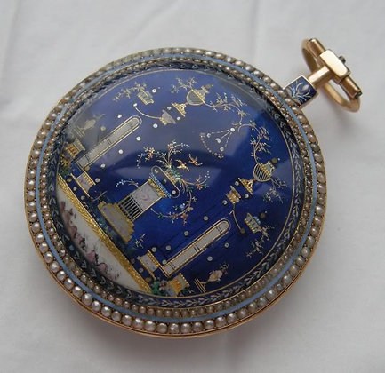 Gold, enamel and pearls, central seconds, c. 1780