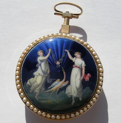 Adet, 18K gold enameled verge watch c. 1780