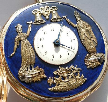 18K gold automaton pocket watch