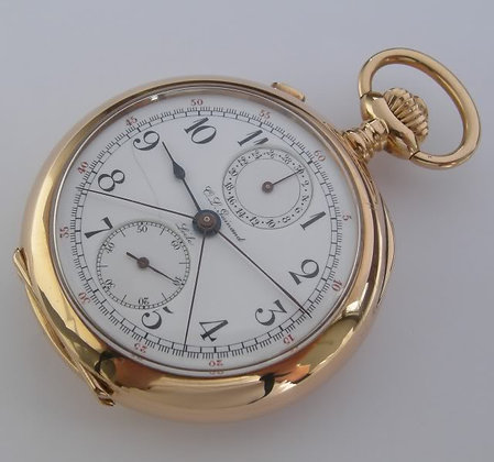Guinand, 14K gold chronograph with split second