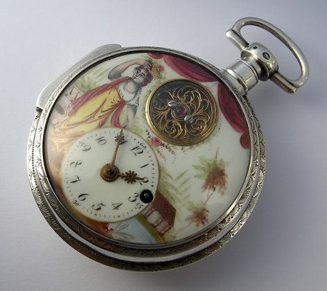 Enameled watch with visible balance cock