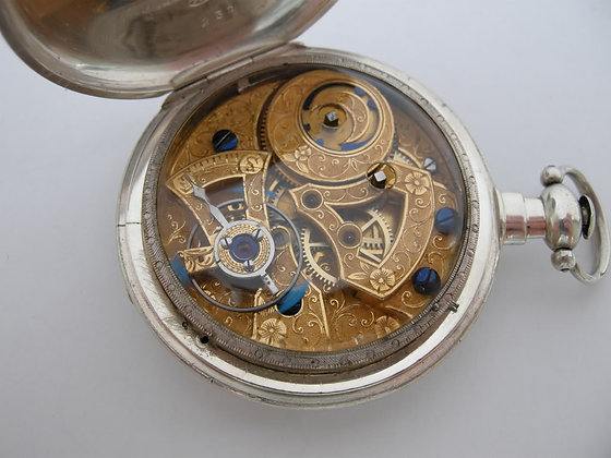 Silver watch with duplex escapement
