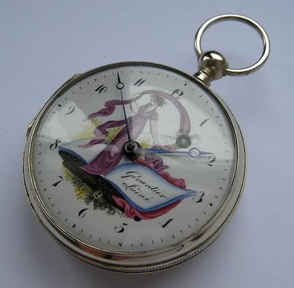 Girardier L'aîné, pocket watch with enameled dial