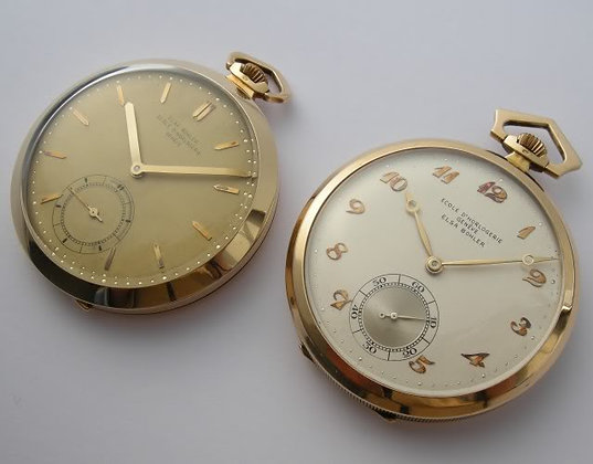 2 gold school watches (Ecole d'horlogerie Genève)