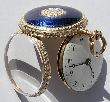 Vauchez à Paris, 18K gold enameled watch