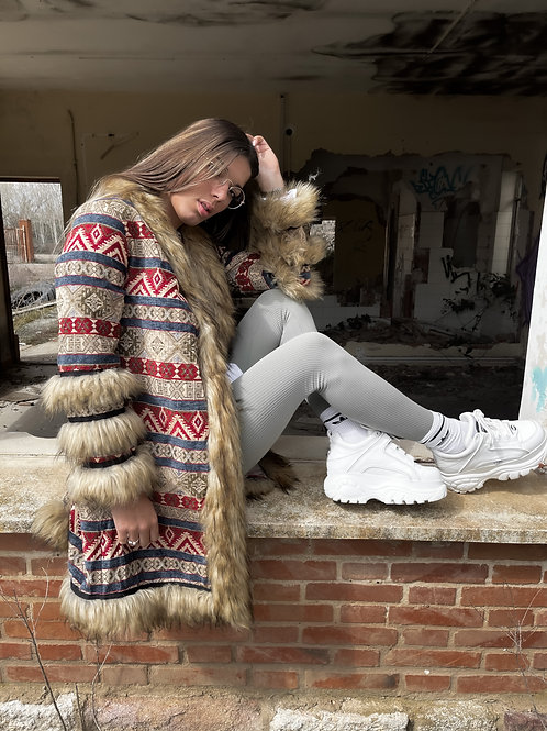 Abrigo de paño con pelo