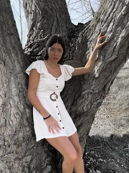 Vestido lino hebilla