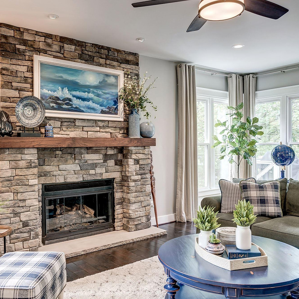 After - Family Room Fireplace Wall