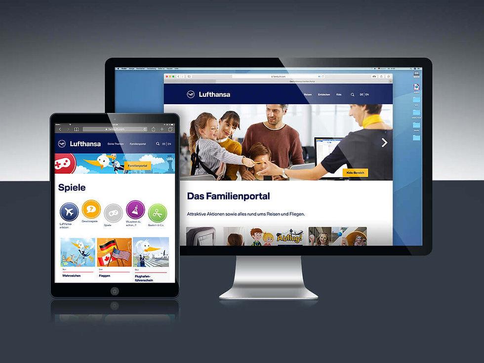 Studio Werner Webdesigner Grafikdesigner Gestaltung Lufthansa Familienportal Website App design Lu und Cosmo