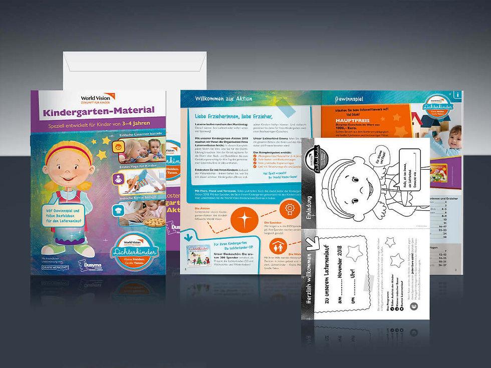 Studio Werner Webdesigner Grafikdesigner Gestaltung World Vision Lichterkinder Spendenaktion Kindergartenaktion Konzeption Aktionsmaterial
