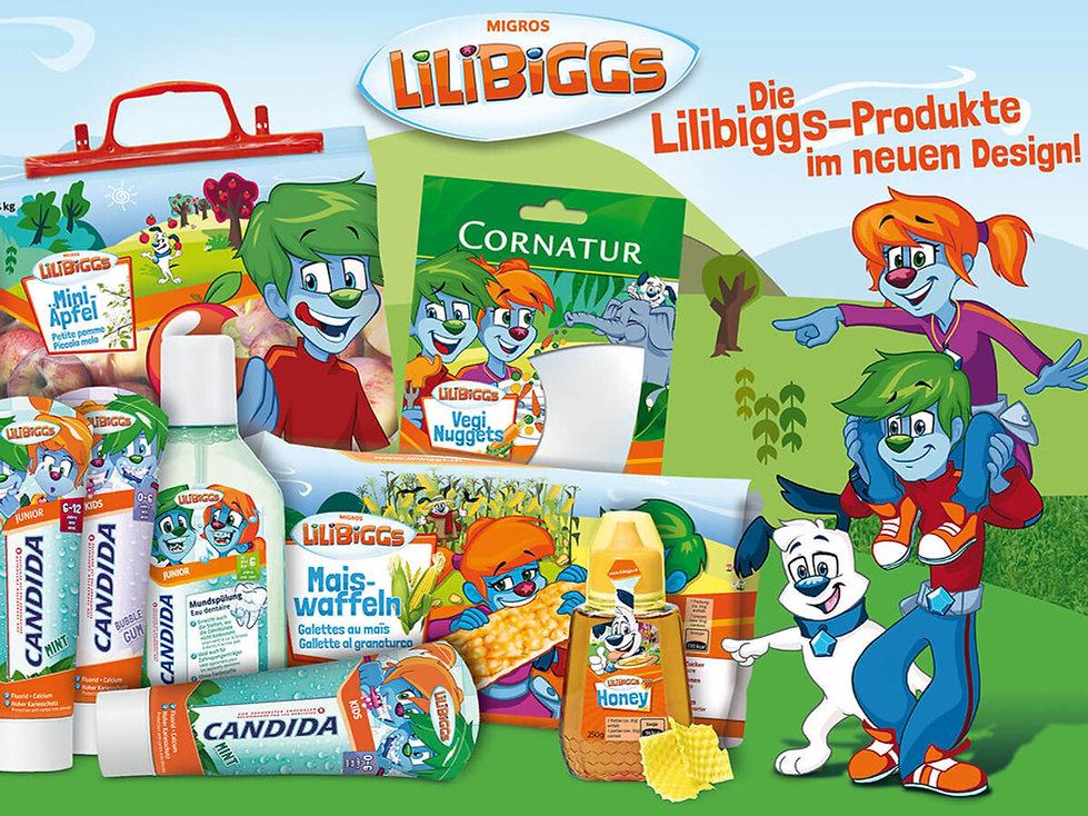 Studio Werner Webdesigner Grafikdesigner Gestaltung Migros Lilibiggs Verpackungsgestaltung Packagingdesign Storedeko Prospekte, Magazingestaltung
