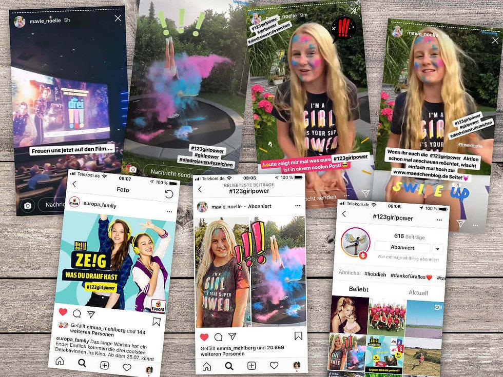 Studio Werner Webdesigner Grafikdesigner Gestaltung Die drei !!! EUROPA Social media Kampagne zeig was du drauf hast 123girlpower Claimentwicklung Konzeption Logogestaltung
