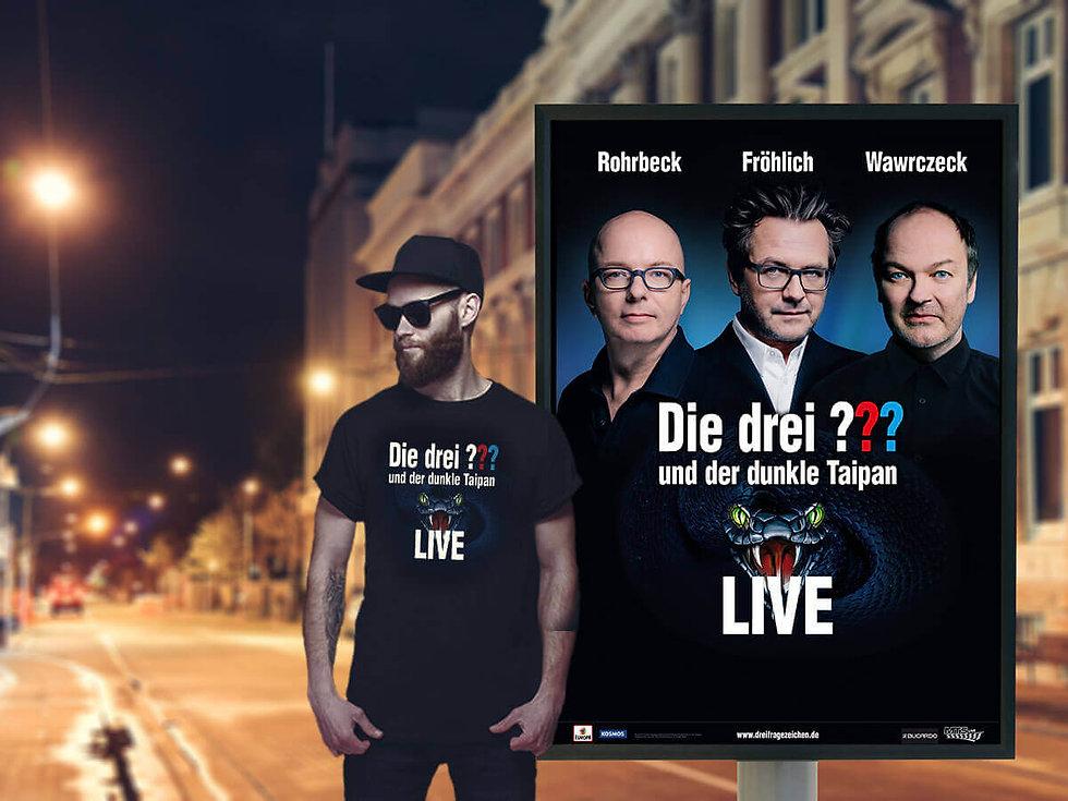Studio Werner Webdesign Grafikdesign Die drei ??? Keyvisual Tourplakat Werbeplakat Fanshirt