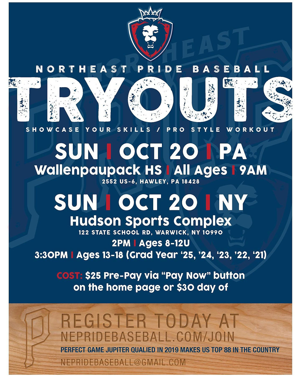 Northeast Pride - Baseball Tryouts at Hudson Sports Complex